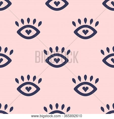 Cute Seamless Pattern With Loving Eyes. Girly Vector Illustration.