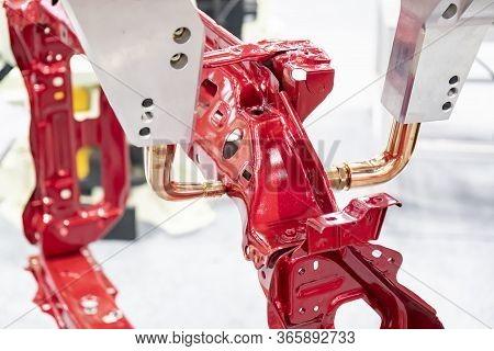The Robotics Arm For Spot Welding The Automotive Parts. The Hi-technology Automotive Parts Assembly