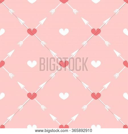 Cute Seamless Pattern With Arrows And Hearts. Girly Flat Print. Romantic Vector Illustration.