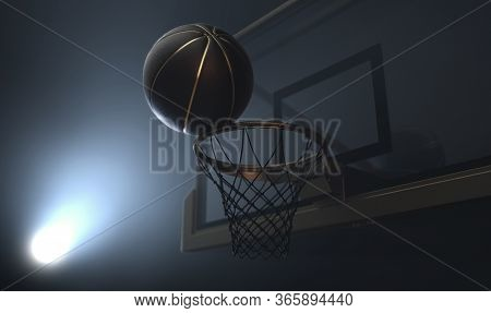 An Action Shot Of A Black And Gold Basketball Teetering On The Rim Of A Regular Basketball Hoop Dram