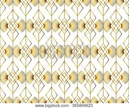 Art Deco Isolated Gold Seamless Pattern. Art Deco Pattern Of Golden Rhombuses On A White Background.