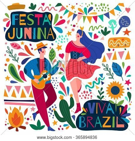 Happy Colorful Festa Junina Viva Brazil Poster Design With A Young Man Playing Guitar And Woman Danc