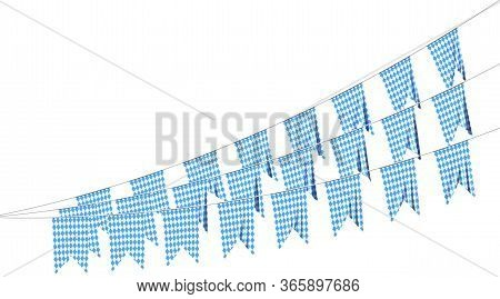 Party Flags Of Oktoberfest Festival Buntings Garland Of Bavarian Checkered Blue Flag With Blue-white