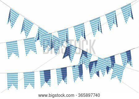 Party Flags For Oktoberfest Festival Buntings Garland Of Bavarian Checkered Blue Flag With Blue-whit