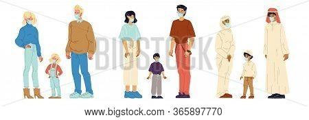 Multinational People Wearing Respiratory Masks Set. Family Having Child Different Nationalities. Cau