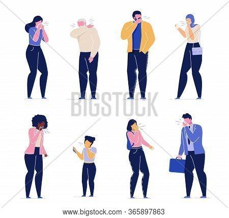 Sick Adult Man Woman Senior People Children Coughing Sneezing Set. Flu, Influenza, Virus Infection D