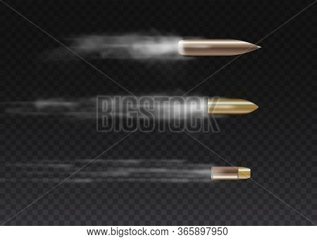 Realistic Flying Bullet In Motion. Gunshots, Bullet In Motion, Military Smoke Trails. Smoke Traces I