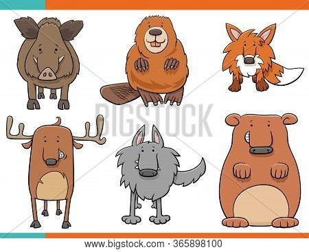Cartoon Illustration Of Funny Wild Animals Comic Characters Collection