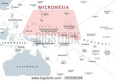 Micronesia, Subregion Of Oceania, Political Map. Composed Of Thousands Of Small Islands In Western P