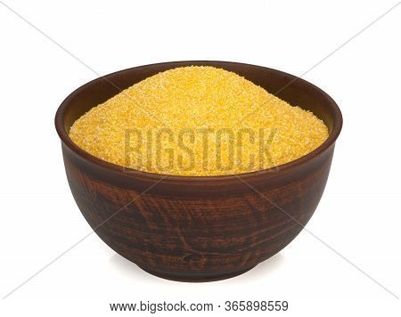 Corn Grits In A Plate On White Background