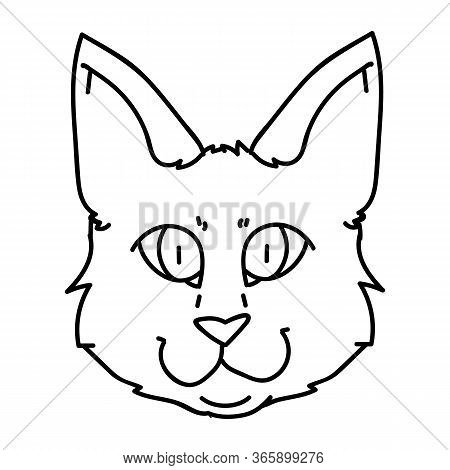 Cute Cartoon Munchkin Cat Face Lineart Vector Clipart. Pedigree Kitty Breed For Cat Lovers. Purebred