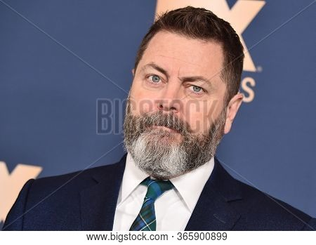 LOS ANGELES - JAN 09:  Nick Offerman {Object} arrives for 'The Way Back' World Premiere on January 09, 2020 in Los Angeles, CA
