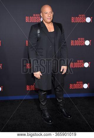 LOS ANGELES - MAR 10:  Vin Diesel arrives for 'Bloodshot' World Premiere on March 10, 2020 in Westwood, CA