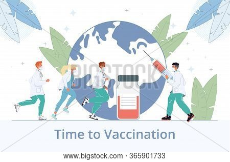 Time To Vaccinate From Flu Influenza Virus Disease. Doctor Hold Syringe Filled Vaccine. Health Immun