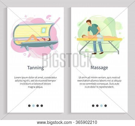Massage Vector, Tanning In Spa Salon, Woman In Sunroom Gaining Hues Of Skin, Masseur With Client Mal