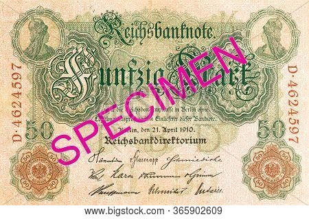 A Single 50 German Mark Bank Note (1910) Obverse