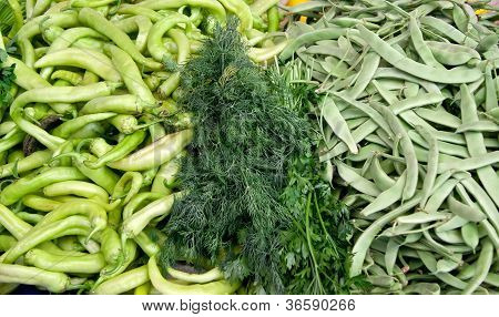 Fresh Organic Vegetables At A Street Market