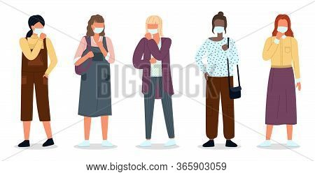 Multinational Women Wearing Face Medical Masks. Viral Pandemia. People In Protective Masks At White.