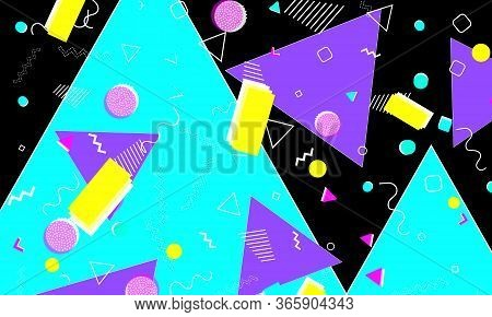 90s Design. Geometric Shapes. Memphis Background. Abstract Fun Design. Memphis Pattern. Vector Illus