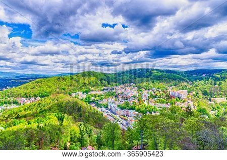 Top Aerial Panoramic View Of Karlovy Vary Carlsbad Spa Town With Colorful Beautiful Buildings, Tepla
