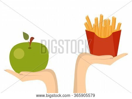 Concept Of Healthy Eating. Vector. Fast Food Or Vegetables Proper Nutrition.