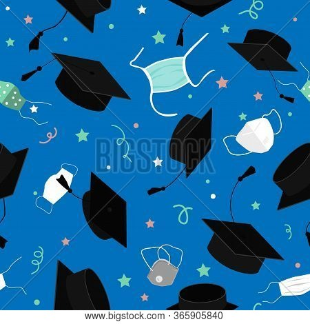 Funny Graduation Seamless Pattern With Bonnets And Medical Mask In The Air. Flying Masks And Grads H