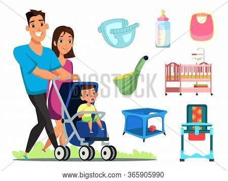 Childcare Attributes Flat Vector Illustrations Set. Diaper, Feeding Bottle And Dib. Happy Young Coup