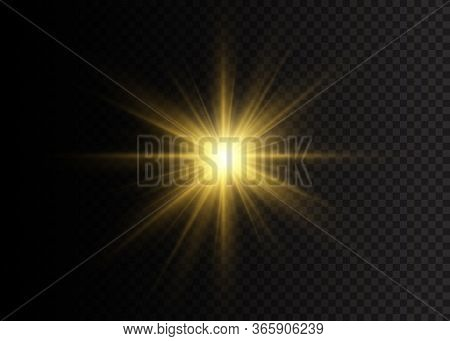 A Flash Of Sun With Rays And Spotlight. Yellow Glowing Lights Star. The Star Burst With Brilliance.