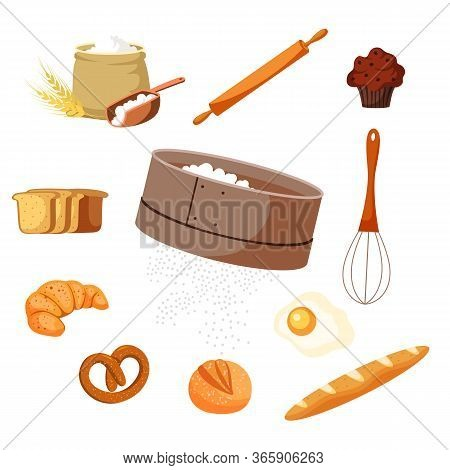 Food And Baking Tools Vector Illustrations Set. Pastry Making Equipment And Ingredients. Wheat Flour
