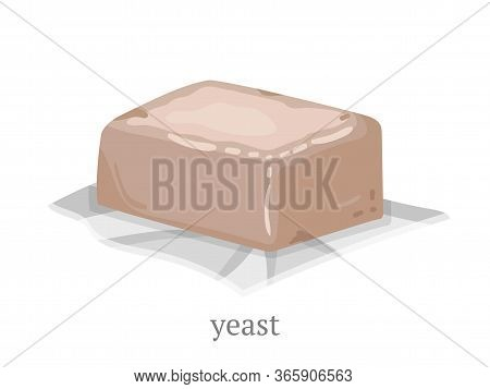 Yeast Flat Vector Illustration. Foodstuff On Foil Paper Piece, Natural Dough Ingredient. Delicious P
