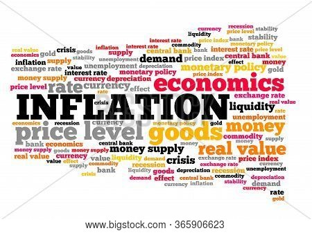 Inflation Concept. Inflation Word Cloud Sign. Price Levels And Monetary Policy.