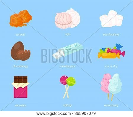 Delicious Candies Flat Vector Illustrations Set. Caramel, Marshmallow And Chocolate Egg. Confectione