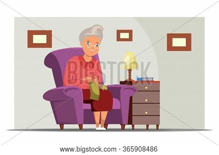 Old Woman Knitting Flat Vector Illustration. Aged Lady, Grandmother Cartoon Character. Granny Sittin