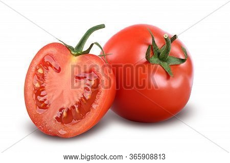 Tomatoes Isolated On White Background Tomato With Slice. Full Depth Of Field, With Clipping Path.