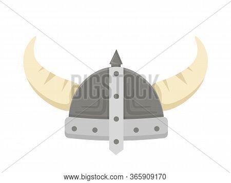 Viking Helmet With Horns Flat Vector Illustration. Scandinavian Warrior Headgear Isolated Clipart On