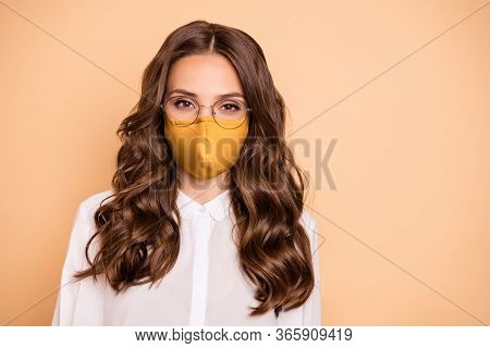 Closeup Portrait Of Attractive Lovely Pretty Fascinating Adorable Shine Content Wavy Secretary Assis