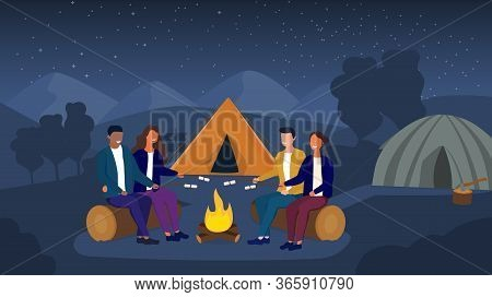 Vector Illustration Of Two Multiethnic Couples Cooking Marshmallows Over Fire While Camping Under St