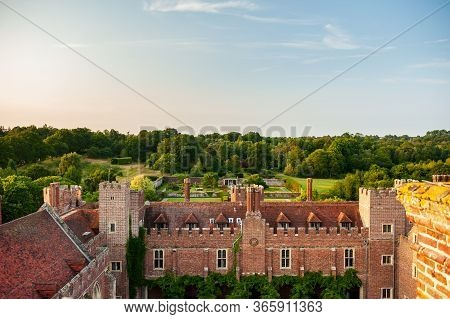 Aerial View Of Herstmonceux, East Sussex, England. Brick Herstmonceux Castle In England (east Sussex