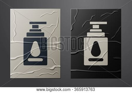 White Personal Lubricant Icon Isolated On Crumpled Paper Background. Lubricating Gel. Cream For Erot