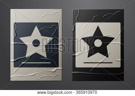 White Hollywood Walk Of Fame Star On Celebrity Boulevard Icon Isolated On Crumpled Paper Background.