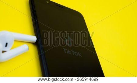 Rome Italy, April 24, 2020. Tik Tok Application Icon Screen Close-up. Tik Tok Icon. Tik Tok Applicat