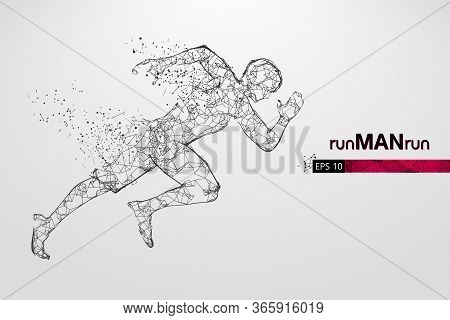 Abstract Silhouette Of A Wireframe Running Athlete, Man On The White Background. Athlete Runs Sprint