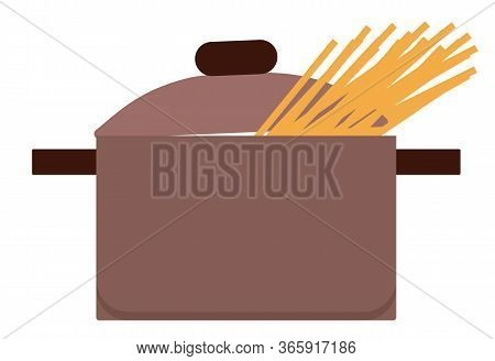 Brown Pan With Lid Isolated On White Background. Utensil Used To Hold, Cook And Boil Ingredients, Fo
