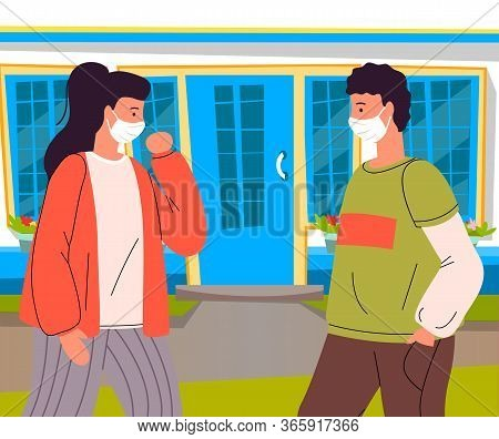 Young Woman And Man Wearing Face Medical Masks Talking Outdoors Breaking The Rules Of Quarantine. Wo