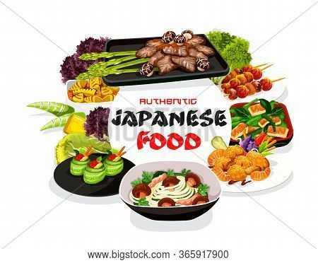 Japanese Cuisine Meals Vector Poster. Asian Food Noodles, Veggies And Seafood Round Frame. Japanese