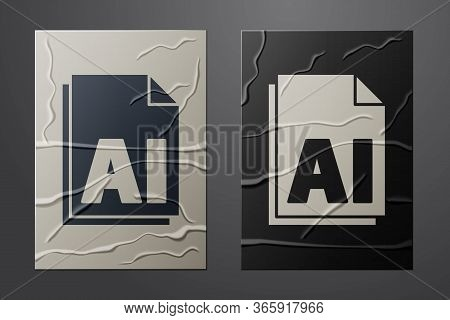 White Ai File Document. Download Ai Button Icon Isolated On Crumpled Paper Background. Ai File Symbo