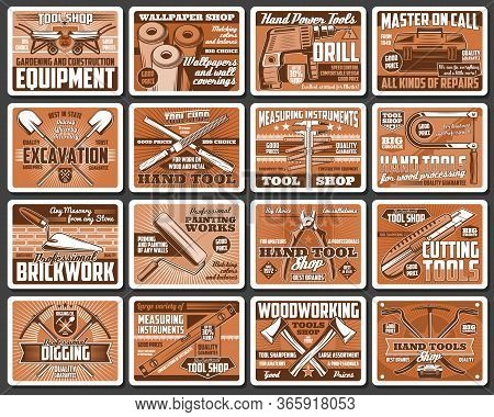 Construction And Diy Tools Retro Vector Posters. Hardware, Carpentry And Brickwork Instruments Vinta