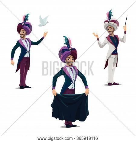 Circus Magician Performing Tricks With Cloth, Magical Wand And Dove Isolated Vector Icons. Big Top I