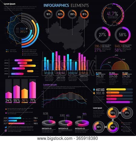 Infographics Elements With Vector Graphs And Charts. Business Presentation Info Graphic Templates Wi