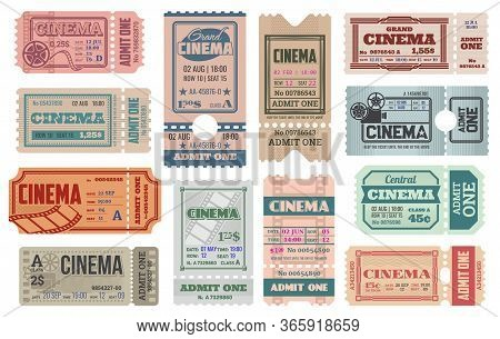 Cinema Tickets Templates. Vector Retro Admit Coupons For Movie Theater Access With Date, Time, Seat